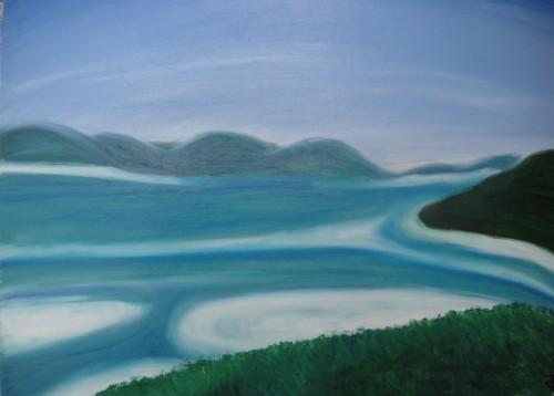 lagon, bleu,
